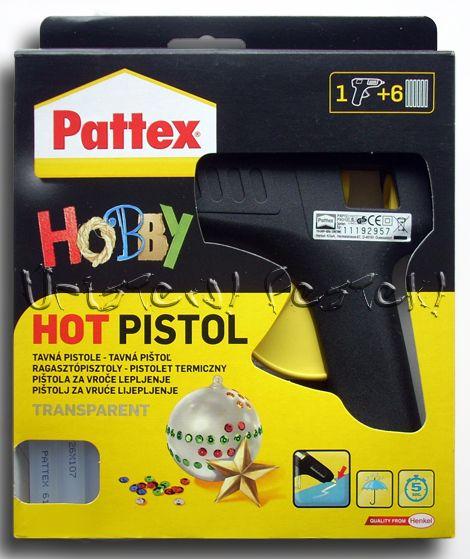 """Ragasztópisztoly, Pattex """"Hobby"""" Hot Pistol + 6db ragasztó rúd"""