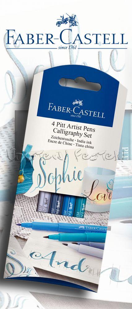 Filc készlet Faber-Castell 4 Pitt Artist Pens Calligraphy Set