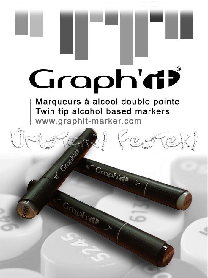 Filckészlet - Graph'it Black&White - 3db kétvégű alkoholos dekorfilc