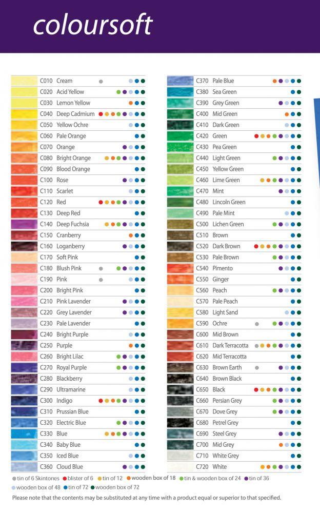Színskála - Derwent Coloursoft - színesceruza