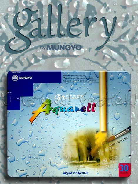 Akvarellkréta - Gallery Mungyo Aquarell - Vízzel elmosható viaszkréta-készlet fémdobozban - 15db, 30db