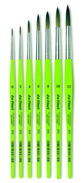 Brush - Da Vinci - synthetic green-handled round, pointed - in different sizes!