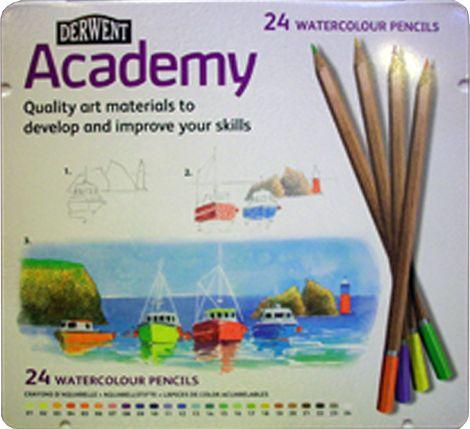 Watercolor Pencil Set - Derwent Academy - 12, 24 pcs