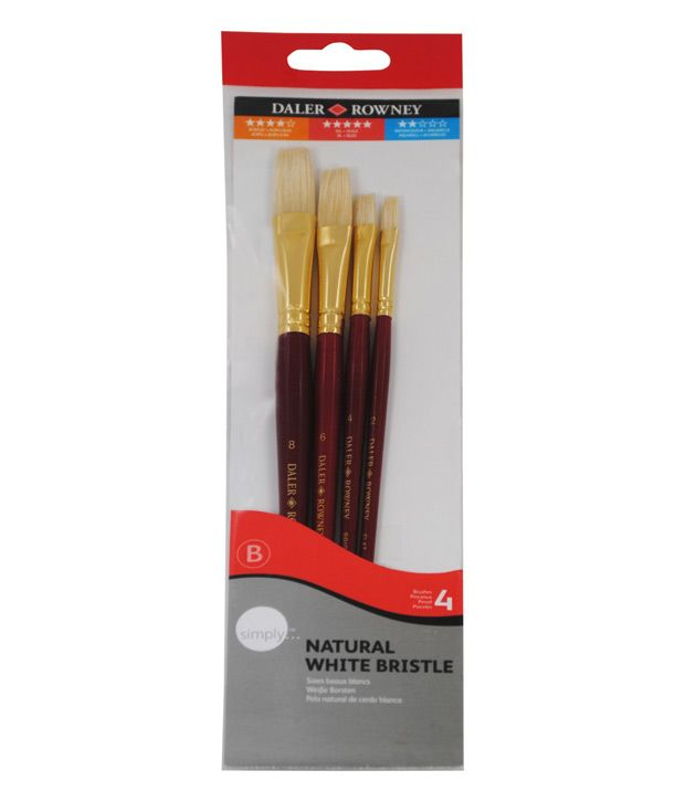 Natural White Bristle Brush Set 4 - Assorted - Long Handle