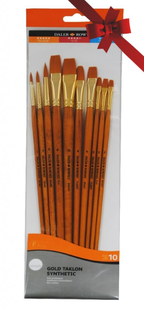 Gold Taklon Brush Set 10 - Assorted - Long Handle
