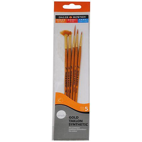 Gold Taklon Brush Set 5 - Assorted