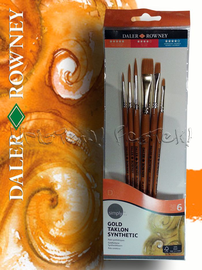 Gold Taklon Brush Set 5 - Flat and Round