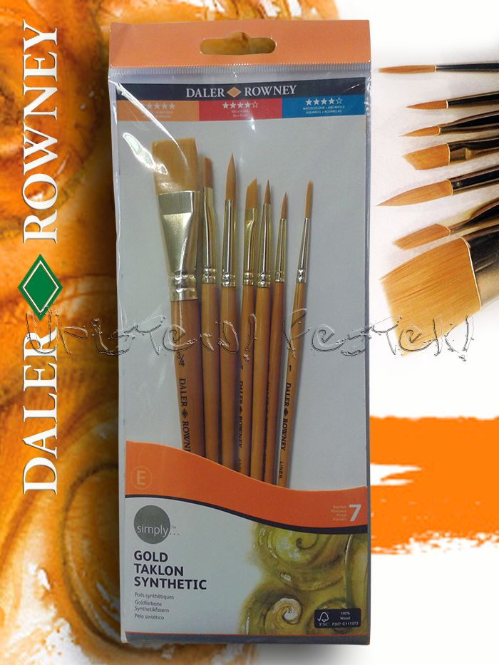 Gold Taklon Brush Set 5 - Flat and Round