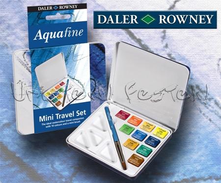 Akvarellfesték készlet, Daler-Rowney Aquafine Travel Set - 10 szín fémdobozban