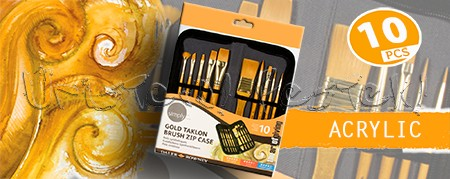 Ecsetkészlet - Daler-Rowney Simply Gold Taklon Brush Zip Case 10db