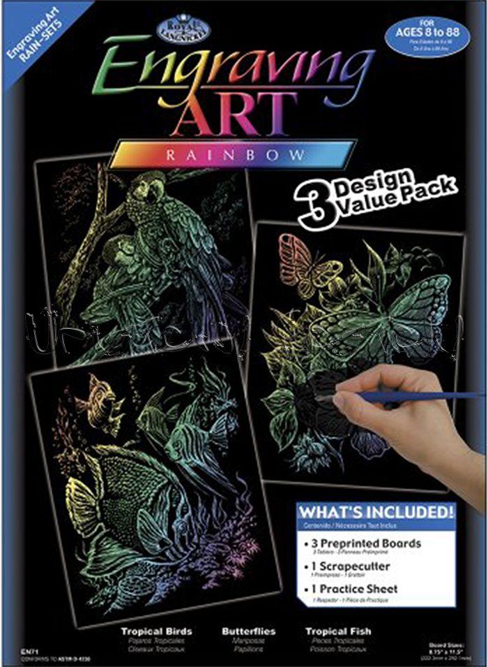 Képkarcoló készlet karctűvel - Royal&Langnickel Engraving ART - RAINBOW - 3 darabos