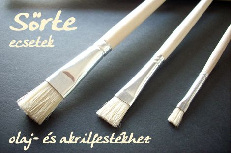 Brush, Bristle brush - for oil, acrylic hobby paints - in different sizes