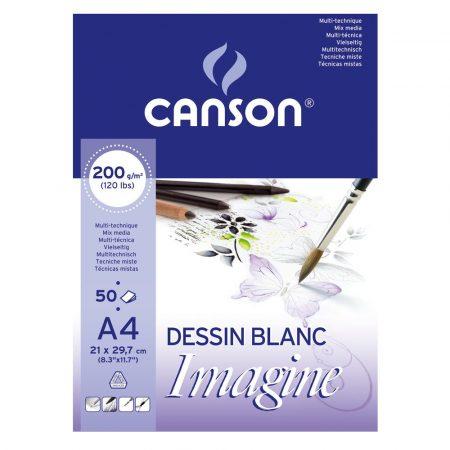 Mix Media tömb - 30%-os AKCIÓ Canson Imagine 200g 50lap Akvarell, tus és filcrajzokhoz