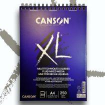 """Vázlat- és Festőtömb - Canson """"XL"""" Fluid Mixed Media spirál, 250g, 30 sheets, A4"""