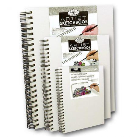 Rajz- és festőtömb - Royal & Langnickel Artist Sketchbook - fehér vászon borítású, spirál, 80 lap, 1
