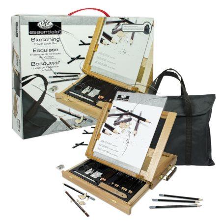 Grafikai készlet asztali állvánnyal - Royal & Langnickel Sketching Travel Easel Set 44pcs