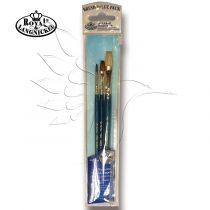 Brush Set -  Oils, Watercolour, Acrylics & Tempera CAMEL/BRISTLE Set - 3 pcs  with free brush pouch