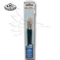 Brush Set - Oil& Acrylics BRISTLE FLAT Set 9106 - 3 pcs  with free brush pouch