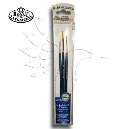 Ecsetkészlet - Royal & Langnickel Gold Taklon Brush Round Set 3pcs