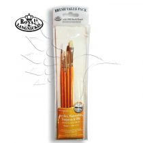 Brush Set -  Oils & Acrylics BRISTLE and SABLE Round-Flat Set - 4 pcs  with free brush pouch
