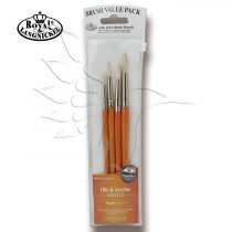Brush Set - Oil& Acrylics BRISTLE ROUND Set – 4pcs  with free brush pouch