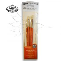 Brush Set -  Oils & Acrylics BRISTLE Flat Set - 4 pcs  with free brush pouch