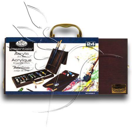 Akrilfestő készlet fadobozban - Royal & Langnickel Essentials ACRYLIC PAINTING Artist Set 24pcs