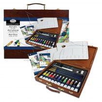 Akrilfestő készlet fadobozban - Royal & Langnickel Essentials Acrylic Art Set for 25pcs