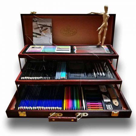 Grafikai készlet fadobozban - Royal & Langnickel Essentials Sketch & Draw Art Set 134pcs
