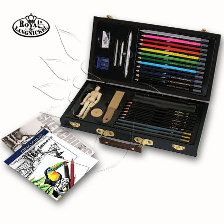 Színes grafikai készlet fadobozban - Royal & Langnickel Sketch & Draw Art Set 32pcs