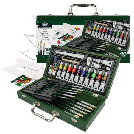 Olajfestő készlet fadobozban - Royal & Langnickel Essentials OIL Art Set 33pcs
