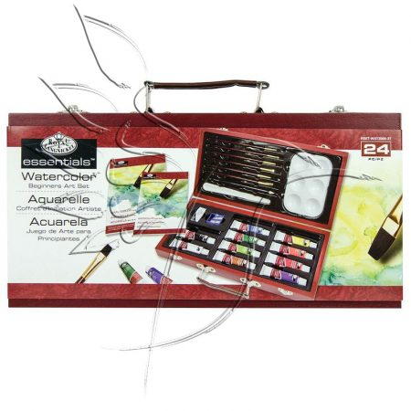 Akvarellfestő készlet fadobozban - Royal & Langnickel Essentials WATERCOLOR Beginners Art Set 24pcs
