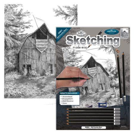 Rajzkészlet előrenyomott vázlattal - Sketching Made Easy A/4 - Old Country Barn
