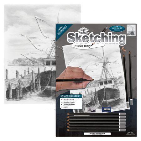 Rajzkészlet előrenyomott vázlattal - Sketching Made Easy A/4 - Fishing Boat