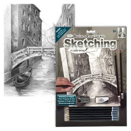 Rajzkészlet előrenyomott vázlattal - Sketching Made Easy A/4 - Venice Bridge