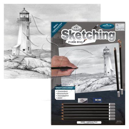 Rajzkészlet előrenyomott vázlattal - Sketching Made Easy A/4 - Lighthouse Point