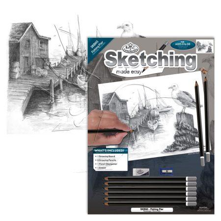 Rajzkészlet előrenyomott vázlattal - Sketching Made Easy A/4 - Fishing Pier