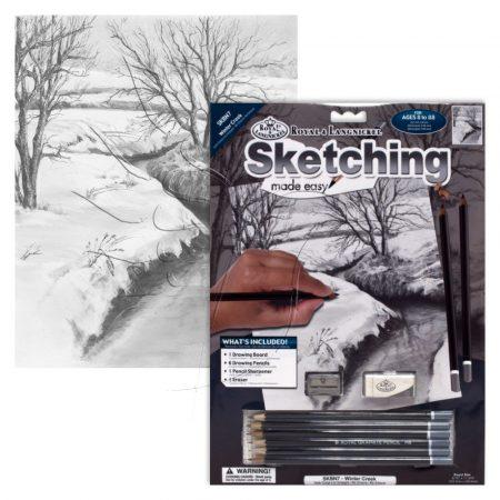 Rajzkészlet előrenyomott vázlattal - Sketching Made Easy A/4 - Winter Creek