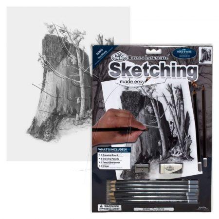 Rajzkészlet előrenyomott vázlattal - Sketching Made Easy A/4 - Tree Stump