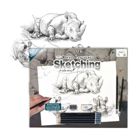 Rajzkészlet, nagy, előrenyomott vázlattal - Sketching Made Easy Large - Rhinos
