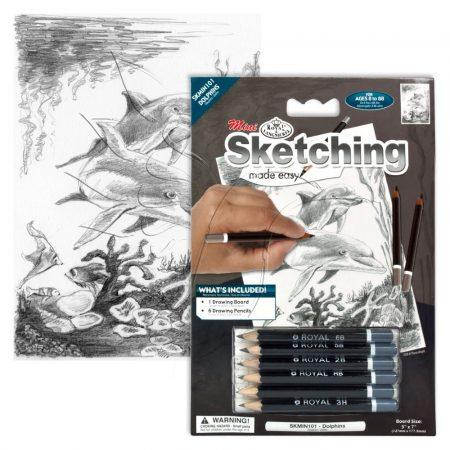 Rajzkészlet előrenyomott vázlattal - Sketching Made Easy Mini A/5 - Dolphins