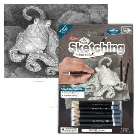 Rajzkészlet előrenyomott vázlattal - Sketching Made Easy Mini A/5 - Octopus