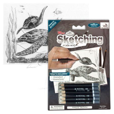 Rajzkészlet előrenyomott vázlattal - Sketching Made Easy Mini A/5 - Sea Turtles