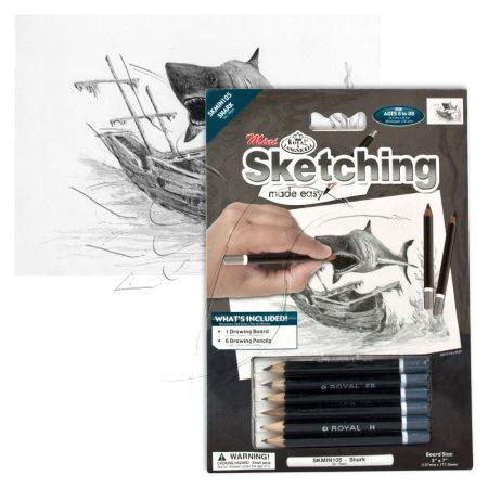 Rajzkészlet előrenyomott vázlattal - Sketching Made Easy Mini A/5 - Shark