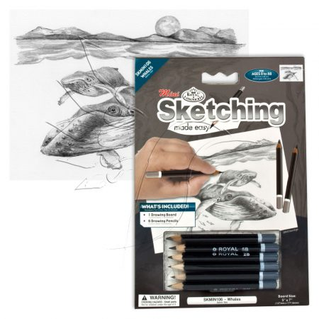 Rajzkészlet előrenyomott vázlattal - Sketching Made Easy Mini A/5 - Whales