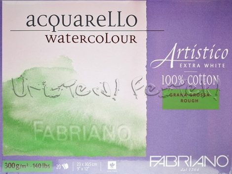 Akvarelltömb FABRIANO Watercolour Artistico Extra White, 100% cotton, Grana Grossa, Rough - 300g, 20