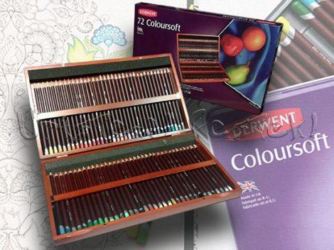 Színesceruza készlet fadobozban - Derwent Coloursoft 72