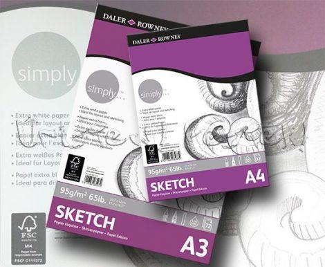 Vázlattömb - Daler-Rowney Simply Sketch - 72 lap, 95gr/nm