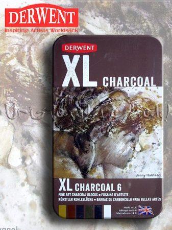 Préseltszén - Derwent XL charocoal - Vízzel elmosható szinezett szén-készlet 6db