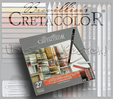 Színes grafikai válogatás - Cretacolor Creativo Drawing Set 27 fémdobozban